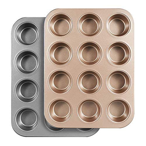Cupcake Pan Nonstick,2Pcs 12-Cup Muffin Pan for Baking and Oven,Non-Stick Baking Pans,Perfect for Making Jumbo Muffins or Mini Cakes,Heavy Duty Carbon Steel Muffin Tins Standard Baking Mold Pan