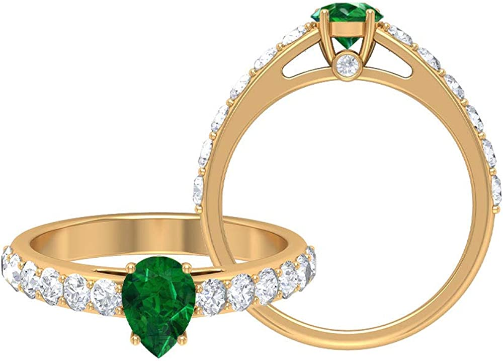 1.51 CT Emerald Rings Sacramento Mall D-VSSI Moissanite MM Gold Ring Pear free 5X7