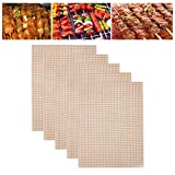 karrychen 5 Pcs Reusable BBQ Mesh Non-Stick Heat Resistant Grill Mat Easy to Clean Outdoor