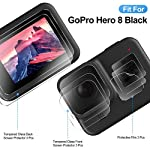 EZCO Screen Protector Compatible with GoPro Hero 8, [3 Sets/9Pcs] Waterproof Ultra Clear Tempered Glass Screen Protector… 15 Screen Protector for GoPro Hero 8: These screen protectors glass are designed for GoPro Hero 8 Camera Black. The package come with 3 pcs tempered glass screen protector, 3 pcs tempered glass lens screen protector, 3 pcs small protective film; 3 set cleaning kits, 1 x installation guide. 9H Hardness: The GoPro Hero 8 Black screen protector tempered glass felt sturdy and made out of good quality materials. It is shatterproof and hard so it doesn't scratch easily. Tempered glass is thick enough to protect your investment from the scratches and bumps of everyday life. Ultra Clear & No Bubbles: This tempered glass is bright, incomparable light transmission up to 99.99%. The highly transparent surface of the protection film for GoPro Hero 8 Black can clearly display the color of the lens and allows the rich colors of the screen.
