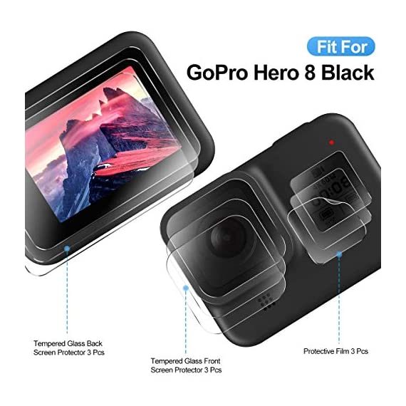 EZCO Screen Protector Compatible with GoPro Hero 8, [3 Sets/9Pcs] Waterproof Ultra Clear Tempered Glass Screen Protector… 7 Screen Protector for GoPro Hero 8: These screen protectors glass are designed for GoPro Hero 8 Camera Black. The package come with 3 pcs tempered glass screen protector, 3 pcs tempered glass lens screen protector, 3 pcs small protective film; 3 set cleaning kits, 1 x installation guide. 9H Hardness: The GoPro Hero 8 Black screen protector tempered glass felt sturdy and made out of good quality materials. It is shatterproof and hard so it doesn't scratch easily. Tempered glass is thick enough to protect your investment from the scratches and bumps of everyday life. Ultra Clear & No Bubbles: This tempered glass is bright, incomparable light transmission up to 99.99%. The highly transparent surface of the protection film for GoPro Hero 8 Black can clearly display the color of the lens and allows the rich colors of the screen.