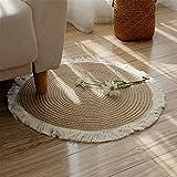 SWECOMZE Alfombra redonda de yute con borla hecha a mano, para salón, dormitorio, baño, habitación de los niños, Tatami (45 x 45 cm)