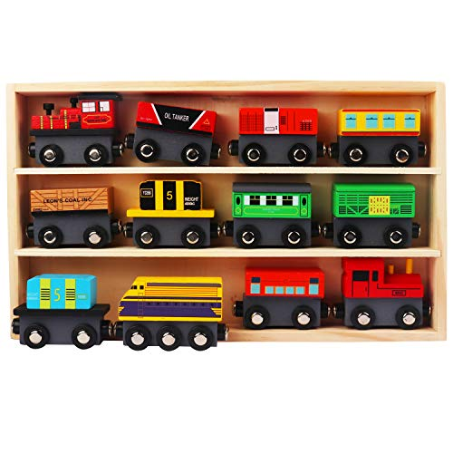 Kurtzy Magnetisches Holz-Eisenbahn (13pcs) Set - 12 Holz-Eisenbahn, 1 Aufbewahrungskasten aus Holz - Spielzeug Lokomotive Zug Set Zubehör, Spielzeug Sammlung für Jungen und Mädchen