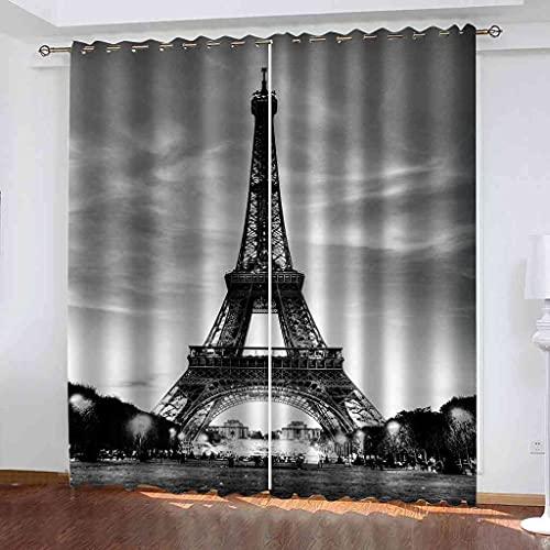 JNWVU Cortinas Opacas De Ojales 3D Torre Negra De París Salon En...