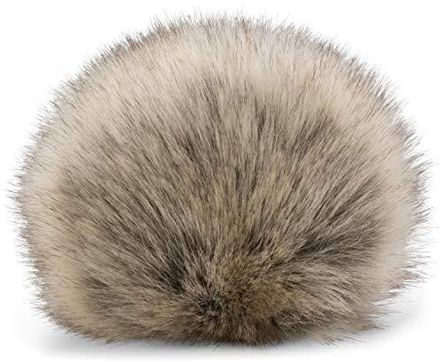 styleBREAKER Pompon en Fausse Fourrure pour Bonnets, Fourrure synthétique, Pompon d'hiver 04024161, Couleur:Beige-Gris