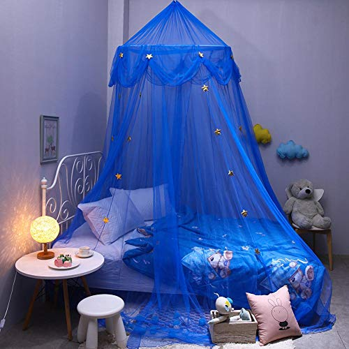 Baby Kids muggennet prinses bedhemel, blauwe ster van de kinderen dromerige fantasie ster hangende kant kap muggennet overkapping, Europees Koreaans beddengoed rond slaapkamer beddengoed