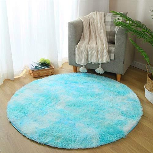 Fnho alfombras mullidas de Interior súper,Alfombra degradada Tie-Dye, Alfombra Redonda para el Piso de la Sala de Estar, Azul Cielo_120 x 120 cm,Suaves y mullidas Alfombra de Dormitorio