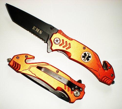EMT / EMS ASSISTED Opening TANTO BLADE RESCUE POCKET KNIFE + Seat Belt Cutter + Glass Breaker