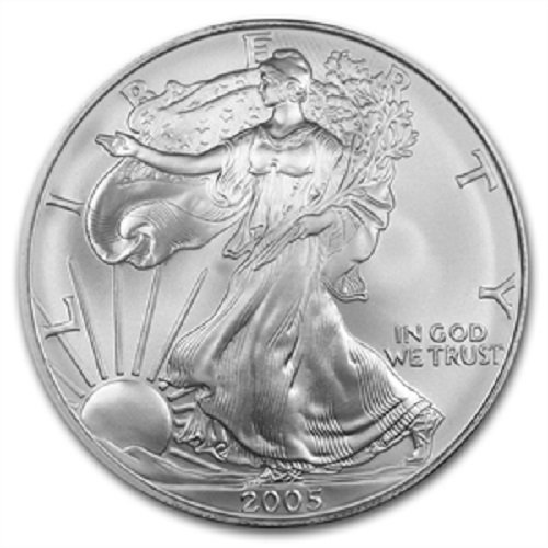 2005-1 Ounce American Silver Eagle Low Flat Rate Shipping .999 Fine Silver Dollar Uncirculated US Mint