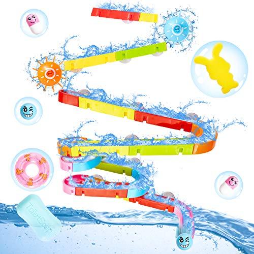 Buyger Badewannenspielzeug Badespielzeug Wasserspielzeug Badewanne Kugelbahn Bausteine Spielzeug für Kinder Junge Mädchen