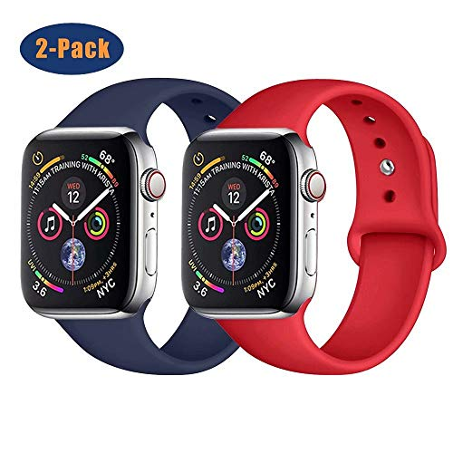 SSEIHI Correa Compatible con Dispositivos Apple Watch 38mm 40mm 42mm 44mm, Correa de Silicona Deportiva Suave de Repuesto Compatible Iwatch Series 5/4/3/2/1-2pack