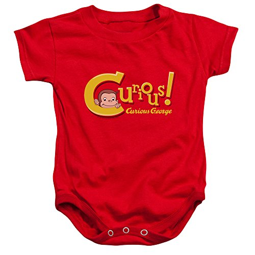 Curious George - - Toddler Onesie Curieux, 24 Months, Red