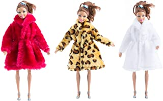 MM Fur Winter Warm Coat Flannel Outfit Doll Accessories Suitable for Doll Xmas Gift(Red+White+Yellow Leopard Print)