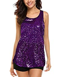 Purple Sleeveless Shimmer Camisole Vest Sequin Tank Top