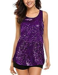 Purple Sleeveless Shimmer Camisole Vest Sequin Tank Top
