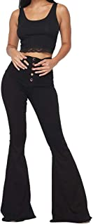 Vibrant Women's Juniors High Rise Button Fly Flare Jeans
