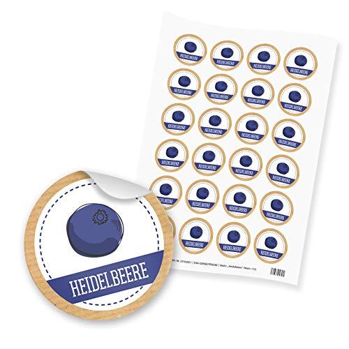 itenga 24x Sticker Aufkleber Heidelbeere Blaubeere Marmelade Konfitüre Likör Etikett für Einmachgläser Weckgläser