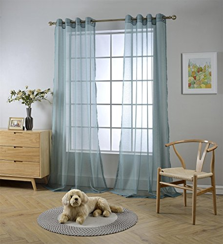 """Miuco 2 Panels Grommet Textured Solid Sheer Curtains 84 Inches Long for Living Room (2 x 54 Wide x 84"""" Long) Teal"""