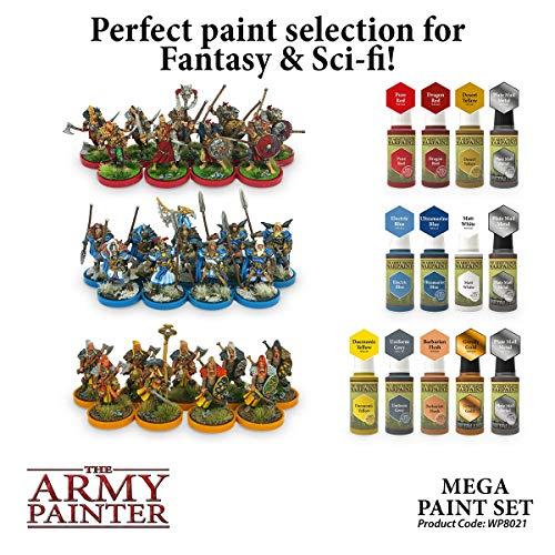 The Army Painter Miniature Painting Kit with Bonus Wargamer Regiment Miniature Paint Brush - Acrylic Model Paint Set with 50 Bottles of Non Toxic Model Paints - Mega Paint Set 3