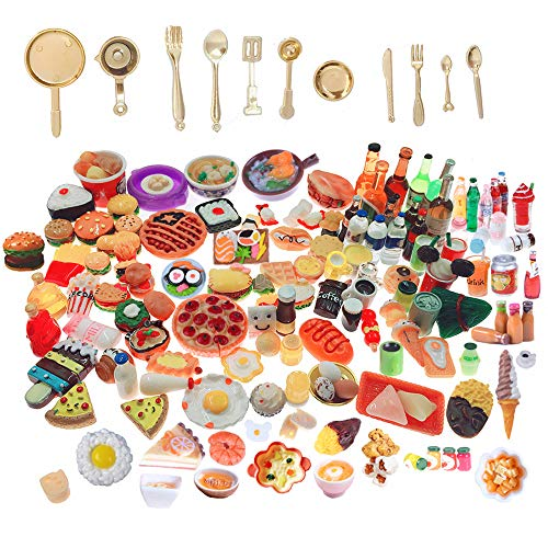 SIX VANKA Miniature Food Drinks Toys 110pcs Mixed Resin Pizza Hamburgers French Fries Wine Decoration Tableware Doll house for Adults Childrens Pretend Play Kitchen Cooking Game Birthday Party Present