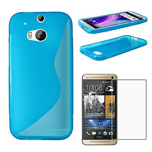 ebestStar - Funda Compatible con HTC One M8 2014 Carcasa Gel Silicona Gel TPU Motivo S-línea, S-Line Case Cover, Azul + Cristal Templado Protector Pantalla [Aparato: 146.4 x 70.6 x 9.4mm, 5.0'']