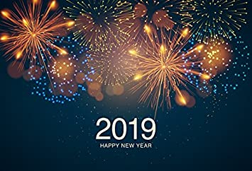 8x8ft 2019 Backdrop New Years Backdrops New Year Fireworks Photography Background Black Night Sky Backdrops Cotton