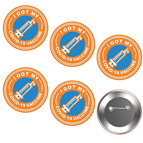 Dormily Vaccinated COVID-19 Coronavirus Memorial Badges, Covid19 Badges Vaccine Plated Pin Brooch Vaccinated Memorial Pinback for Bag Shirt-Round,2.25 Inch (Orange, 5pc)