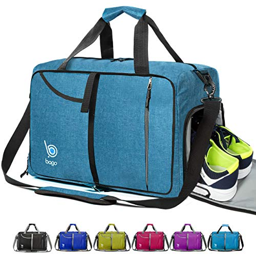 Gym Bags for Women and Men - Small Packable Sports Duffle Bag for Women with Shoe Compartment and Wet Pocket (40 Liter Snow Blue)