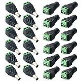 FULARR 24Pcs Profesional DC Conector Enchufe, Barril 12V DC Power Jack Conector Adaptador, 12 Pares 2 Pin Enchufe Macho & Socket Hembra Set, para CCTV Cámara LED Strip (5.5 X 2.1mm)