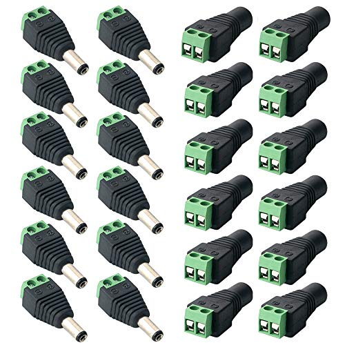 FULARR® 24Pcs Profesional DC Conector Enchufe, Barril 12V DC Power Jack Conector Adaptador, 12 Pares 2 Pin Enchufe Macho & Socket Hembra Set, para CCTV Cámara LED Strip (5.5 X 2.1mm)