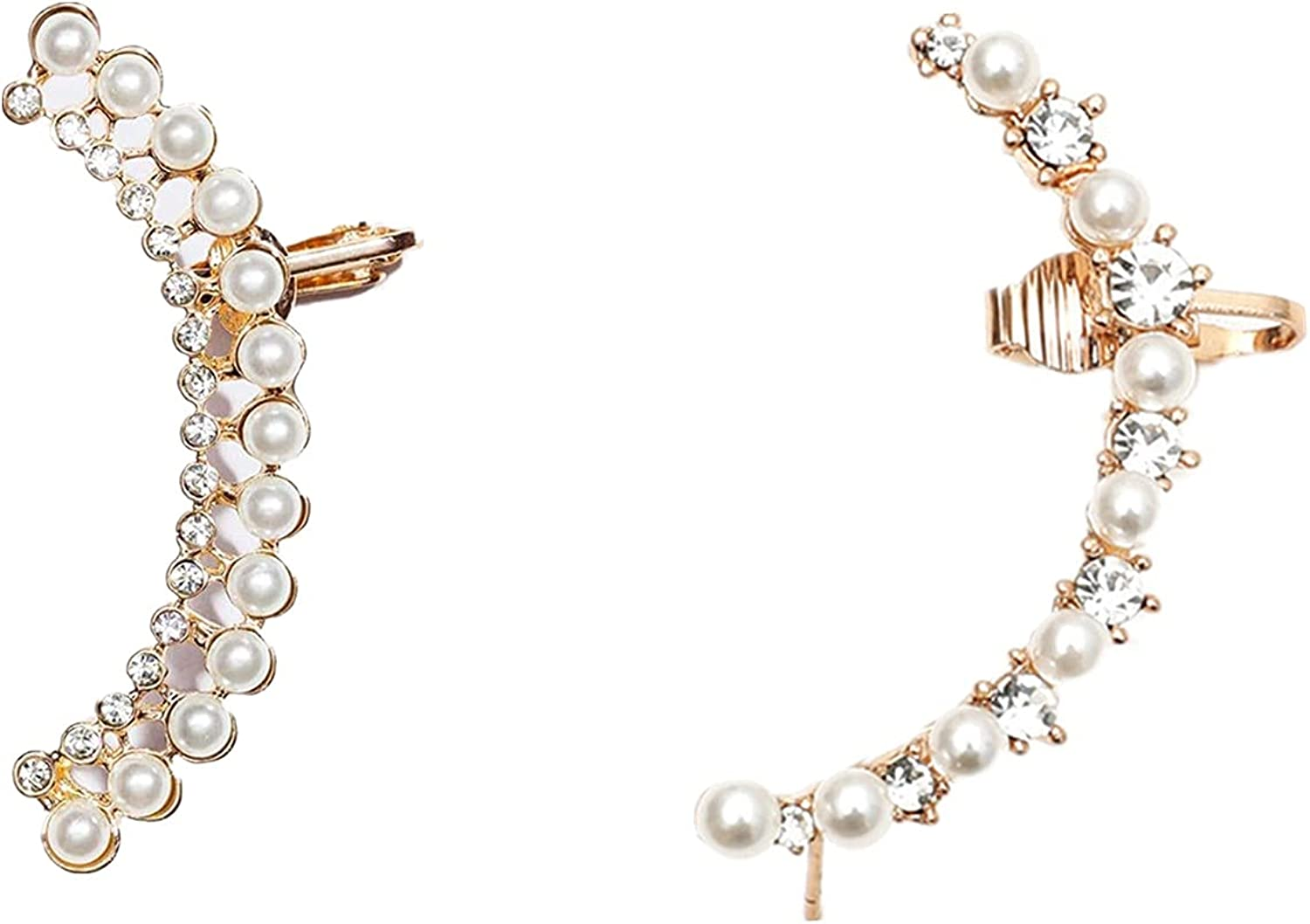 COLORFUL BLING 2Pcs Pearl Zircon Inlaid Wrap Crawler Climber Earrings Vintage Cuff Stud for Left Piercing Ear