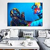 ganlanshu Arte Moderno lienzos Carteles y Grabados murales Retrato Parejas Amantes del Maquillaje,Pintura sin Marco,50X75cm