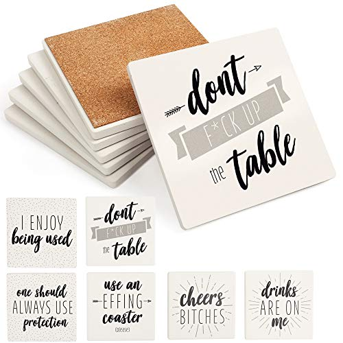 LotFancy Funny Coasters for Drinks Absorbent, Set of 6, 4' x 4'Ceramic Coasters with 6 Sayings, Square Coasters Set with Non-Slip Cork Base, Bar Room Decor Housewarming Gift