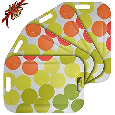WUMN Colorful Plastic Serving Tray with Handles, BPA-free Safety Fast Food Tray, Rectangular Melamine Tray 17  x 12 ,Serving Plate and Platters - Set of 4