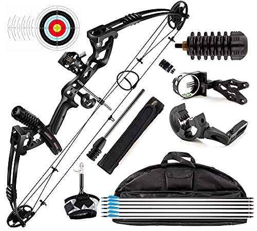 Rochan Aluminum Alloy Compound Bow with Dyneema Bow String Right Hand Composite Bow with Adjustable Draw Length and Weight Compound Bow Kit, IBO 310FPS