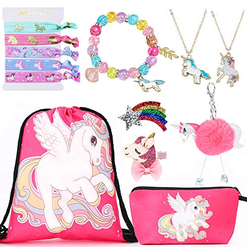 Siteer 9PCS Unicorn Gift for girls Included Hair Ties Bracelet Necklaces Make Up Bag Hair Clip Keychain Drawstring Backpack