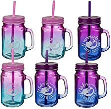 Pullach Hof 6 Stück Trinkglas mit Deckel und Trinkhalm 6er Set Trinkgläser mit Henkel und Schutz Schraubdeckel Auswahl (Color-Mermaid)