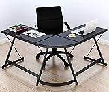 SHW Gaming Desk Computer L-Shape Corner Studio Table, Black, Glass Top
