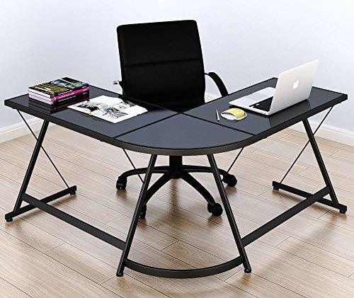 SHW L-Shape Corner Desk Computer Gaming Desk Table...