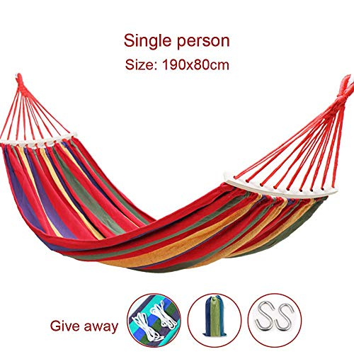 HUAA Outdoor Garden Hammock With Wooden Spread Bars Portable Compact Single Max Load Capacity 100 Kg Travel Bag Perfect For Patio Yard Outdoors 200x150/190x80cm