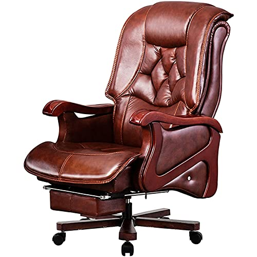 Tolalo Silla de oficina, silla ejecutiva Silla de jefe cómoda PU Reclinación acolchada de cuero, computadora duradera y estable, altura ajustable. ORDENADOR PERSONAL Silla giratoria de escritorio (mar