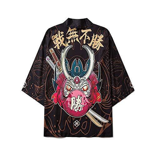 Mujeres Japonés Kimono Cardigan Japonés Kimono Albornoz Unisex Capa Chaqueta De Tres Cuartos Manga De Tres Cuartos Talla Grande Camisa Pijamas Sueltas Black-Large