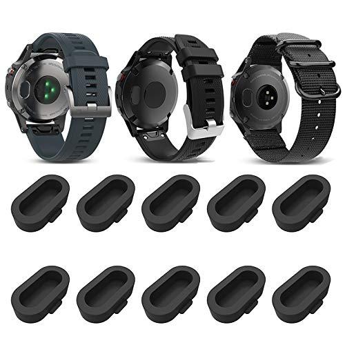Miimall [10 Pack Black] Compatible Garmin Venu Charger Port Protector, Silicone Anti-dust Plugs Caps Anti Dust Plug for Garmin Instinct/Fenix 6 / 6S / 6X
