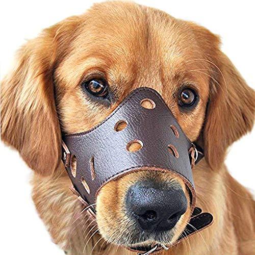 Chchmu Leder-Maulkorb für Hunde, verstellbar, atmungsaktiv, Hunde-Trainingsmaulkorb für Hunde, Anti-Bellen, Anti-Kauen, Haustier-Maske, Braun, S
