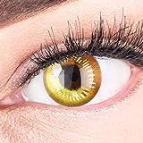 Farbige Gelbe Kontaktlinsen Anime Yellow Circle Lenses Heroes Of Cosplay Stark Deckend - Ohne Stärke mit Gratis Linsenbehälter - Mit Stärke -2.00 Dioptrien