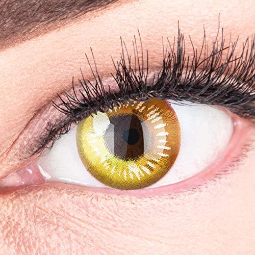 Farbige Gelbe Kontaktlinsen Anime Yellow Circle Lenses Heroes Of Cosplay Stark Deckend - Ohne Stärke mit Gratis Linsenbehälter - Mit Stärke -1.50 Dioptrien