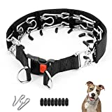 Dog Prong Collar, Dog Training Collar Adjustable Dog Choke Pinch Collar with Quick Release Buckle /Nylon Cover for Small Medium Large Dogs