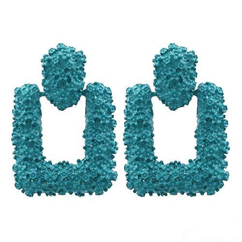 TIANYOU Novedad Joyas-Pendientes para mujer Pendientes de aleación de forma geométrica simple Temperamento exagerado Pendientes de metal Verde, Regalo de cumpleaños para damas colga