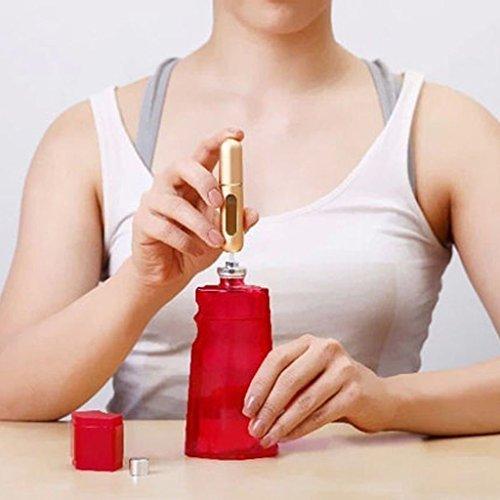 5ml Mini Flacon Pompe de Parfum Rechargeable Vide Vaporisateur Bouteille de Pulvérisation - Rose Violacé