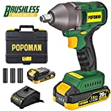 Impact Wrench, Brushless 20V MAX Cordless, High Torque 260 ft-lbs (350N.m) with 3 Speed Transmission, 1/2' Hog Ring Anvil, 2.0Ah Li-ion Battery, 60 Min Fast Charger, Tool Box - POPOMAN BHD850B